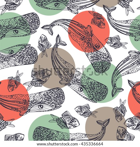 Ocean seamless pattern. Sperm whale and fish.