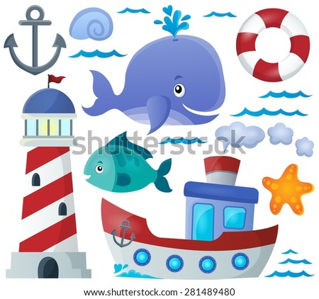 Ocean theme collection 1 - eps10 vector illustration. - stock vector