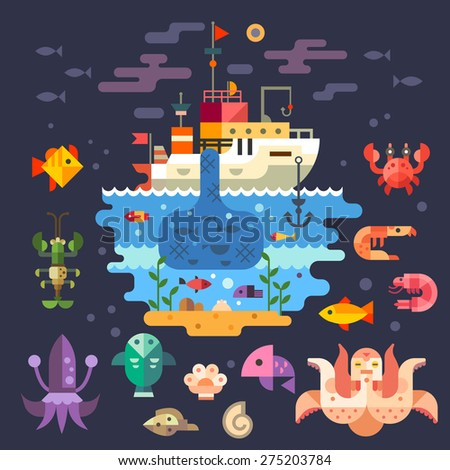 Ocean underwater life, sea animals. Fishing boat. Fish, octopus, shrimp, squid, cancer, mussels, crab, anchor, seaweed, ship, barge, fisherman. Vector flat illustration  - stock vector