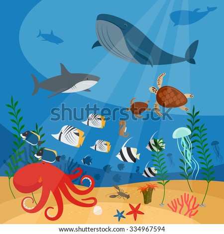 Ocean underwater vector background with fish, corals and algae - stock vector