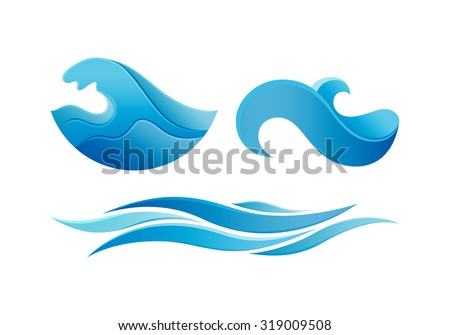 Ocean Wave Logo Design. Vector Template Water Symbol. Creative Abstract Circle Logotype Concept Icon.  - stock vector