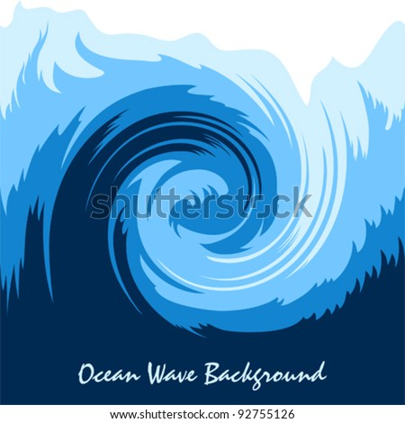 Ocean wave, stylized seamless vector background - stock vector