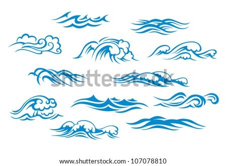 Ocean waves set isolated on white background, such emblem or logo template. Jpeg version also available in gallery - stock vector