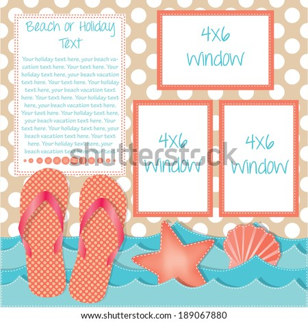 Ocean waves with flip flops or sandals and sea shells, frames for text, scrapbooking layout, vector format - stock vector