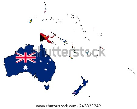 Oceania Flag Map All Countries Oceania Stock Vector (Royalty Free ...