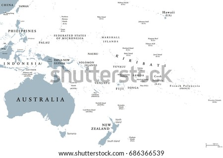 Oceania Political Map Countries English Labeling Stock Vector