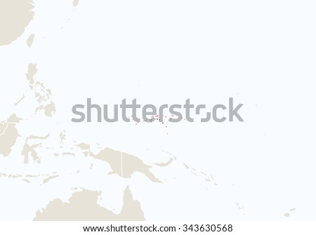Oceania with highlighted Micronesia map. Vector Illustration.  - stock vector