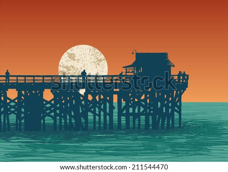 oceanic view with silhouette pier and full moon. vector illustration. - stock vector