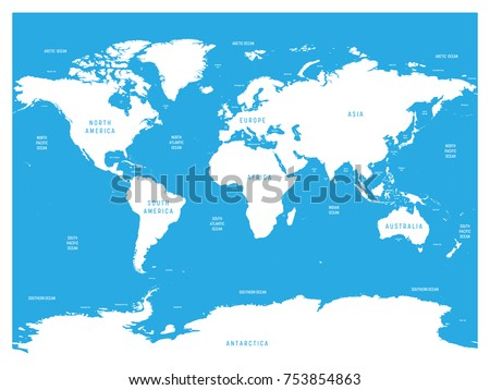 Oceanographical Map World Labels Oceans Seas Stock Vector - Map of world oceans