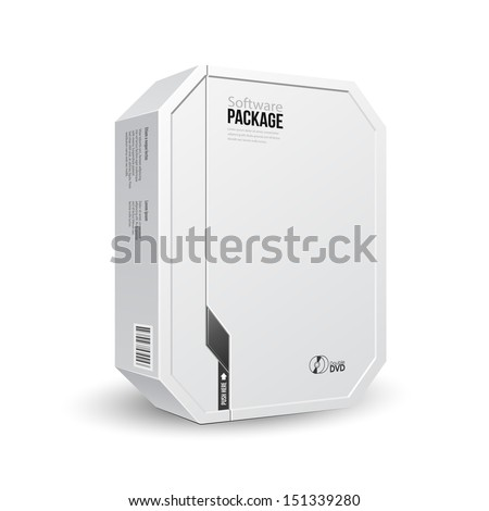 Octagon Modern White Software Package Box With DVD Or CD Disk For Your Product. Vector EPS10  - stock vector