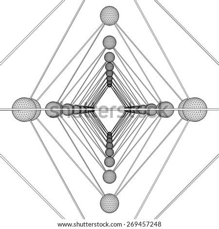 Octahedron DNA Molecule Structure Vector  - stock vector