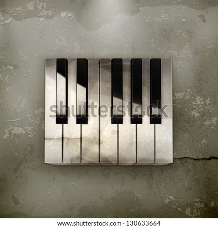 Octave, piano keys old-style vector - stock vector
