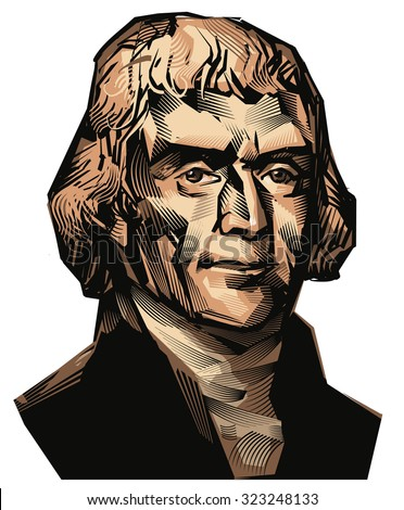 October 03, 2015: A color vector illustration of a portrait of The third President of USA Thomas Jefferson on a white background.