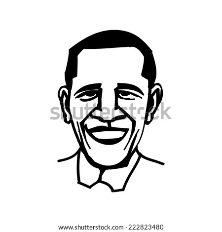 October 1, 2014: A vector, black and white illustration of president Obama, line drawing - stock vector
