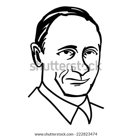 October 1, 2014: A vector, black and white illustration of president Putin, line drawing - stock vector