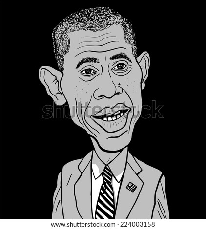 October 10, 2014: A Vector portrait of the President of the United States Barack Obama isolated on a black background. - stock vector