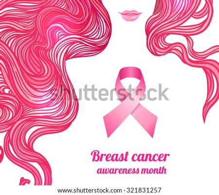 October: Breast Cancer Awareness Month, annual campaign to increase awareness of the disease. Woman with breast cancer awareness pink ribbon, vector illustration health, medicine, beauty concept