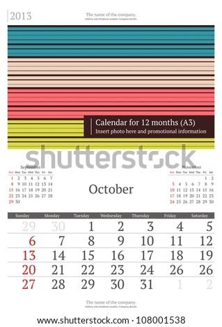 October. 2013 calendar. - stock vector