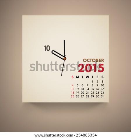 October 2015 Calendar Clock Design Vector  - stock vector