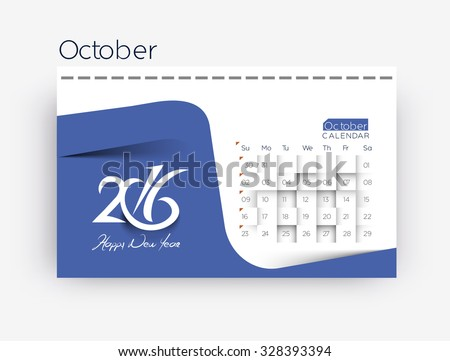 October 2016 calendar design. - stock vector