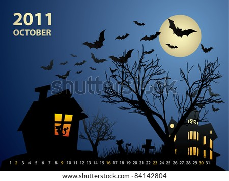 October calendar - Halloween with haunted house, bats and pumpkin - stock vector
