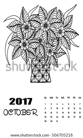 April 2017 Calendar Line Art Black Stock Vector 506705245