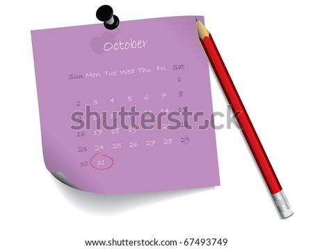 October calendar on notepaper - stock vector