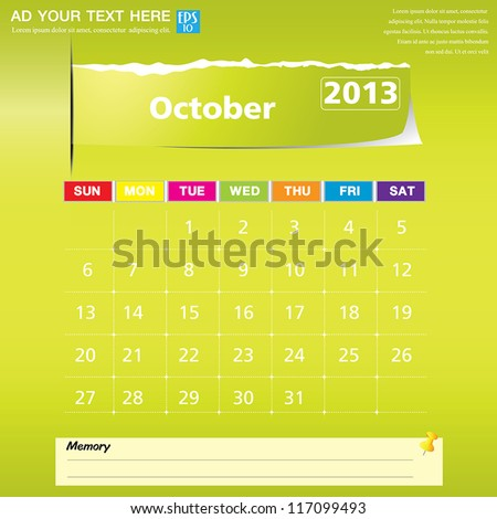 October 2013 calendar vector illustration