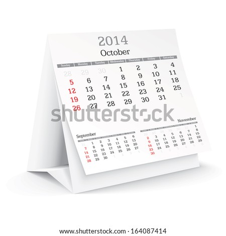 october 2014 - calendar - vector illustration