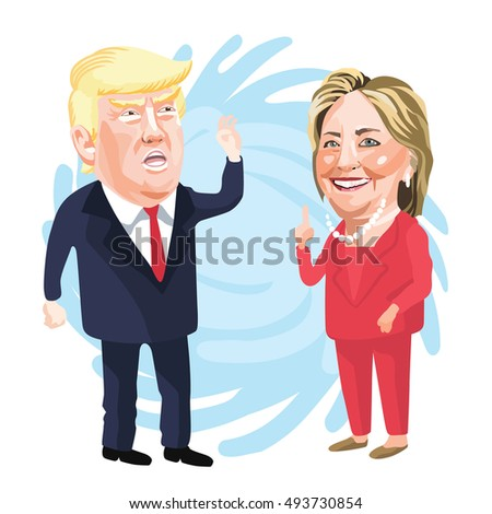 October 05, 2016 Caricature character illustration of Donald Trump and Hillary Clinton.
