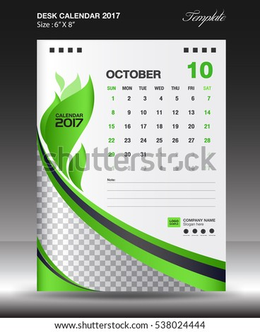 Set Green Desk Calendar  Template Stock Vector