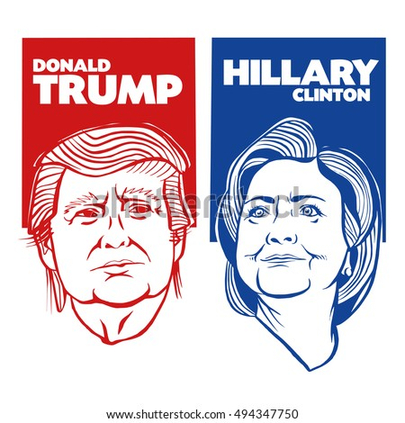 October, 6 2016: Illustration showing Republican Donald Trump vs Democrat Hillary Clinton face-off for American president with words Election 2016 on isolated background done in stencil retro style