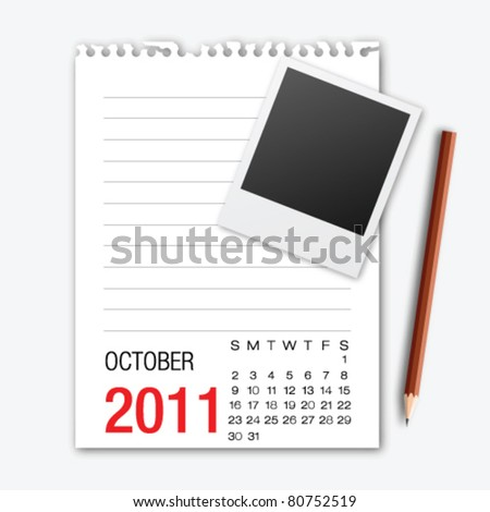 October month calendar note paper with pencil - stock vector