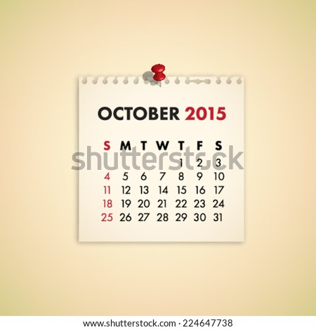 October 2015 Note Paper Calendar Vector - stock vector