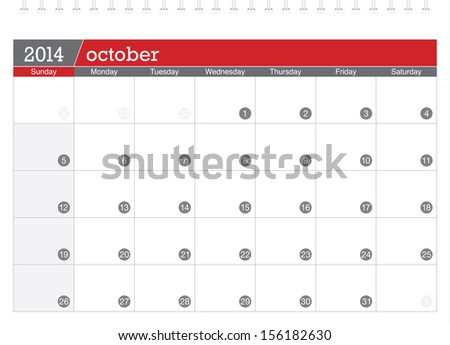 october 2014 planning calendar - stock vector