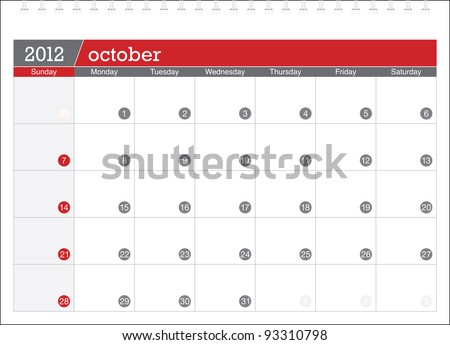october 2012-planning calendar - stock vector
