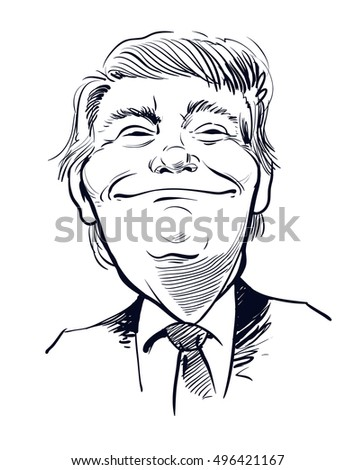 October 11, 2016: Portrait of Donald Trump. vector illustration