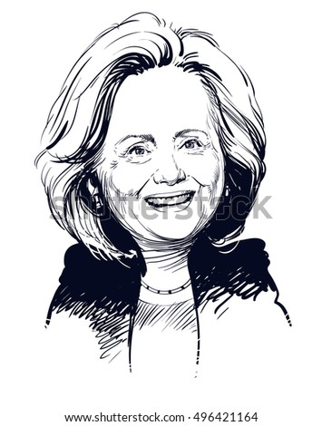 October 11, 2016: Portrait of Hillary Clinton. vector illustration