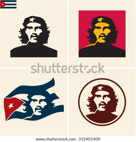 October 27, 2015: stylized vector portrait of commander Ernesto Guevara (Che Guevara) and the Republic of Cuba national flag - stock vector