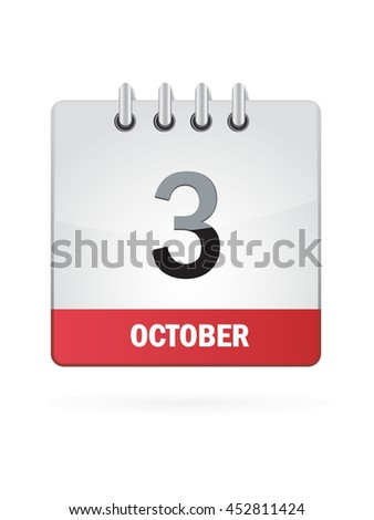 October Three. Calendar Icon