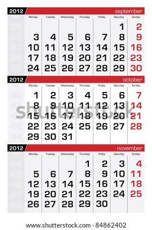 October 2012 Three-Month Calendar - stock vector