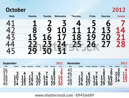 October 2012 three months calendar - stock vector