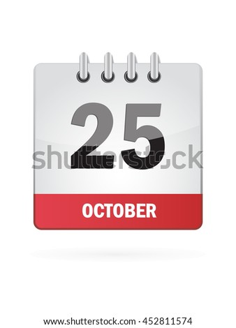October Twenty Five. Calendar Icon - stock vector