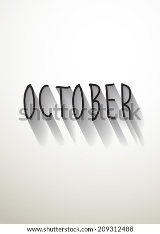 october typo with shadow vector,Eps 10