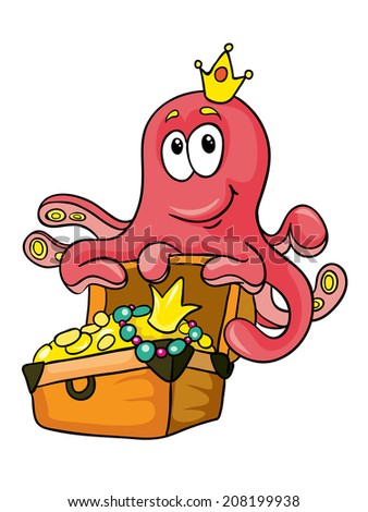 octopus and a chest of gold, vector illustration on white background - stock vector
