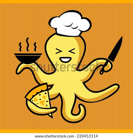 octopus chef prepares pizza and soup  - stock vector