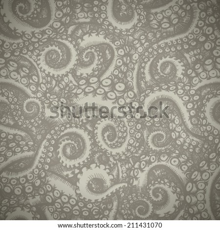 octopus tentacles - seamless pattern. Hand drawn illustration - stock vector