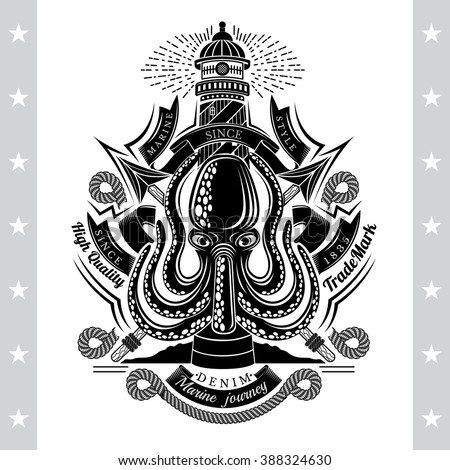 Octopus with Cross Harpoons and Lighthouse Behind. Sea Vintage Black Label Isolated On White - stock vector