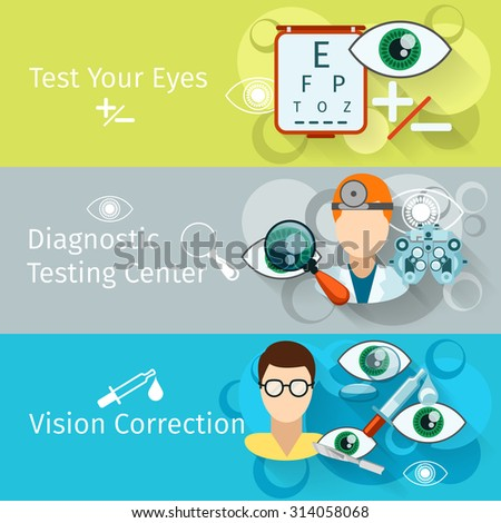Oculist and optometry horizontal banners. Ophthalmology medical, medicine correction test and diagnosis, vector illustration - stock vector