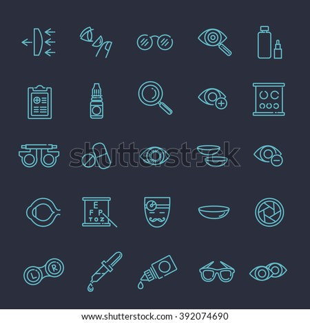 Oculist optometry vision correction eyes health black icons set isolated vector illustration - stock vector